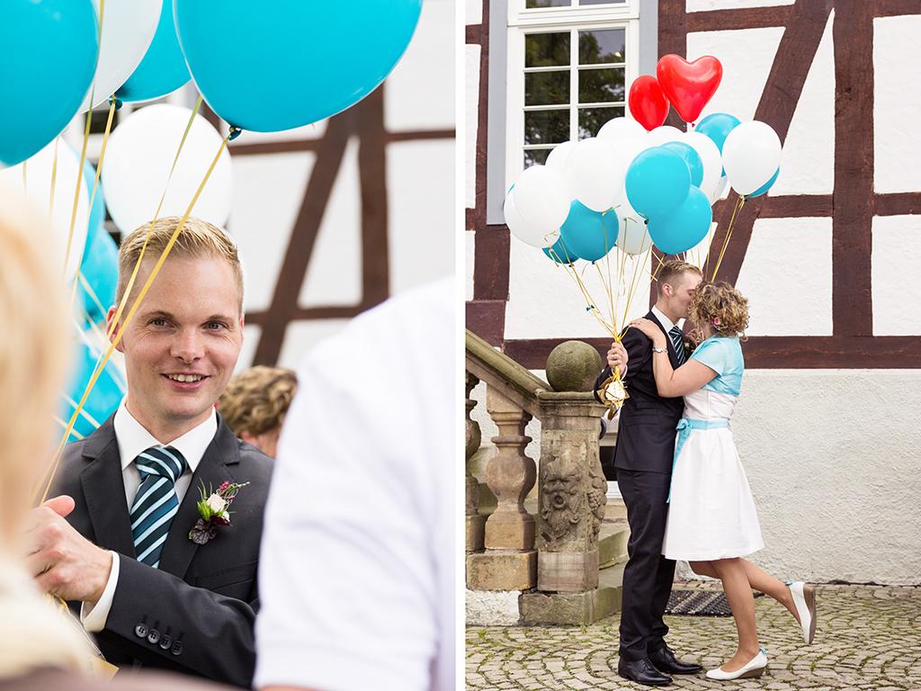 Hochzeitsfotograf Hochzeit Borchen Nordborchen Mallinckrodthof Fotograf Paderborn Standesamt Ballons