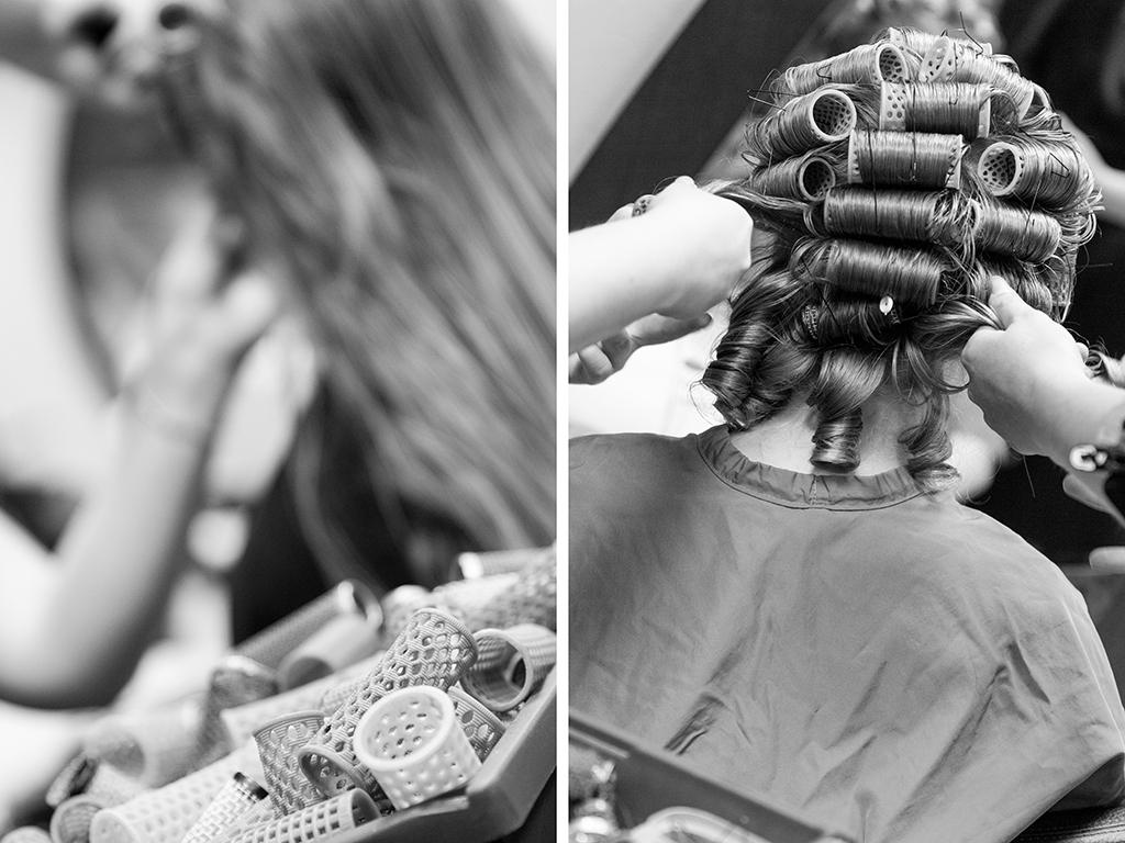 Daniela Andreas Hochzeit Vorbereitungen Getting Ready Friseur Frisur Lockenwickler Haare Braut Paderborn Sande Delbrück Hochzeitsfotograf - Diana Jill Fotografie