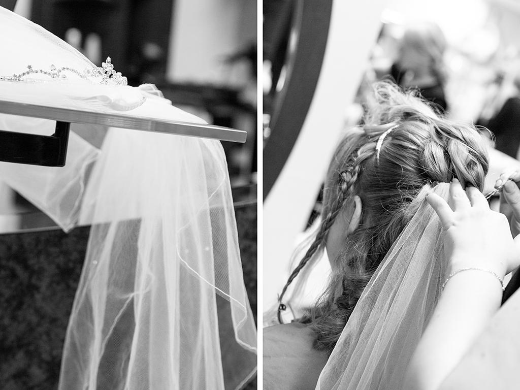 Daniela Andreas Hochzeit Vorbereitungen Getting Ready Friseur Frisur Schleier Haare Braut Paderborn Sande Delbrück Hochzeitsfotograf - Diana Jill Fotografie