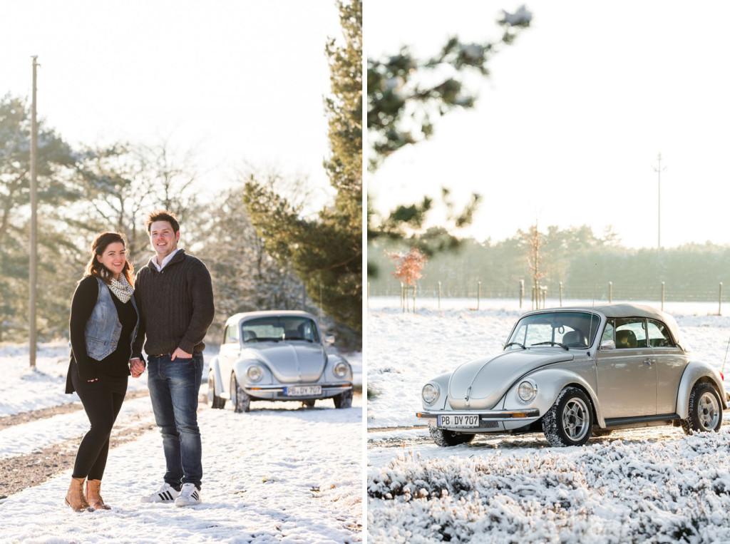 Verlobungsshooting Engagementshooting Paarshooting Paar VW Käfer Shooting Verlobung Hochzeit Hochzeitsfotograf Paderborn Hövelhof
